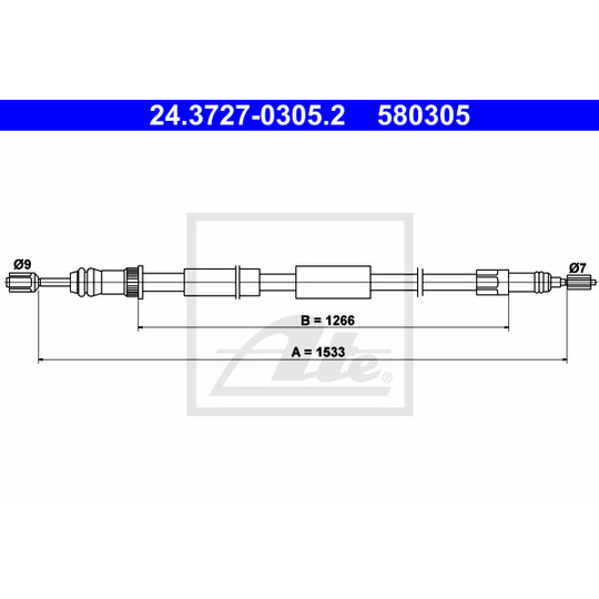 24.3727-0305.2 - Cable, parking brake