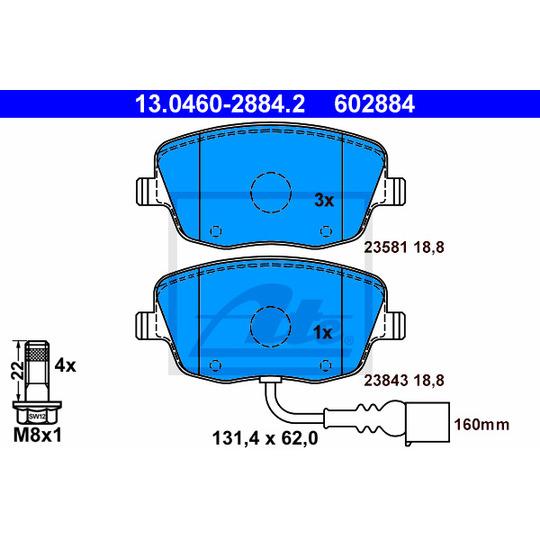 13.0460-2884.2 - Brake Pad Set, disc brake
