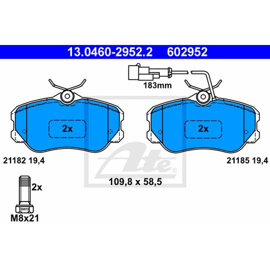 13.0460-2952.2 - Brake Pad Set, disc brake