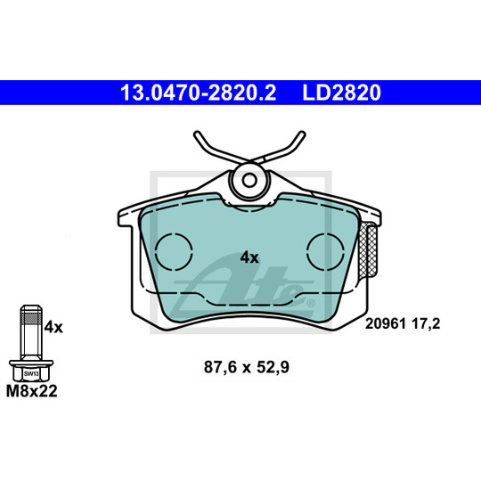 13.0470-2820.2 - Bromsbeläggssats, skivbroms