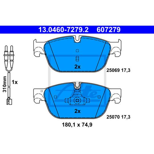 13.0460-7279.2 - Piduriklotsi komplekt, ketaspidur