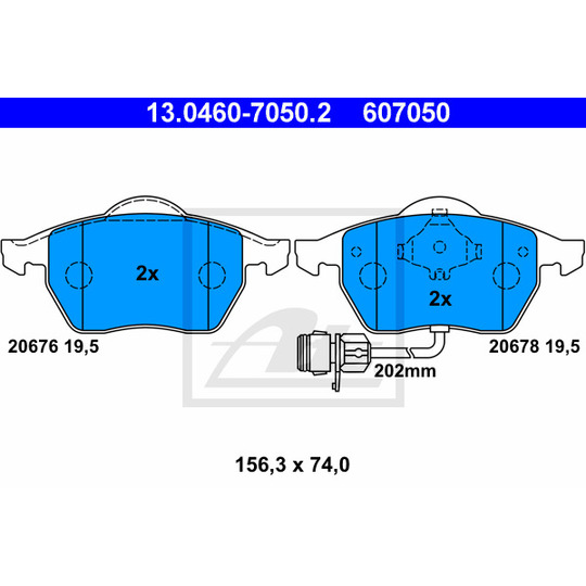 13.0460-7050.2 - Brake Pad Set, disc brake