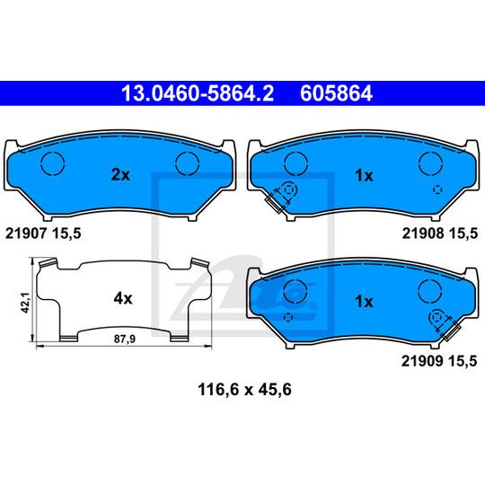 13.0460-5864.2 - Piduriklotsi komplekt, ketaspidur