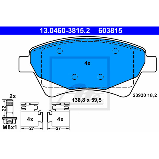 13.0460-3815.2 - Piduriklotsi komplekt, ketaspidur