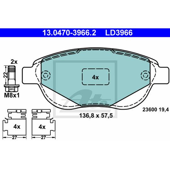 13.0470-3966.2 - Brake Pad Set, disc brake