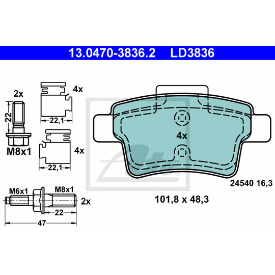 13.0470-3836.2 - Brake Pad Set, disc brake