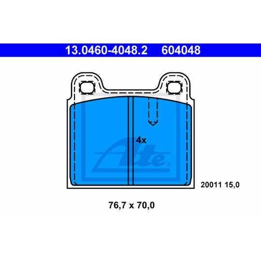 13.0460-4048.2 - Piduriklotsi komplekt, ketaspidur