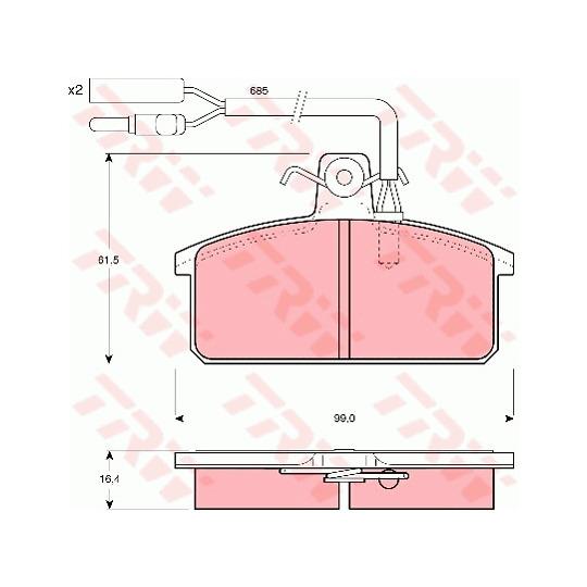 GDB417 - Bromsbeläggssats, skivbroms