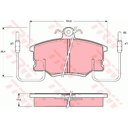 GDB464 - Bromsbeläggssats, skivbroms